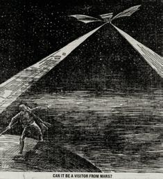 Tekening van een spookluchtschip uit de krant The Saint Paul Globe (18 97) waarin de vraag gesteld word of het om een bezoeker van Mars gaat.