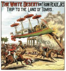 Illustratie van een boek van Luis Senarens met een vliegend tuig dat helemaal op de Albatros is geïnspireerd/