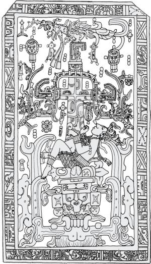 Het deksel van de sarcofaag van Maya koning Pacal. Volgens experts in de Mayacultuur zijn alle symbolen begrijpelijk binnen de context van de mythologische opvattingen van de Maya's. Volgens von Däniken betreft het een afbeelding van een man in een ruimt