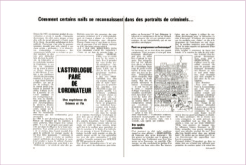 """Het begin van het 9 pagina's tellend artikel van Michel Gauquelin in """"Science & Vie"""" n° 611, met de dossiers van de 10 criminelen, hun foto's en de passages rond hun horoscopen."""